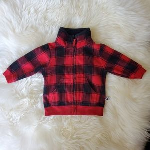 Carters newborn plaid red and black sweater